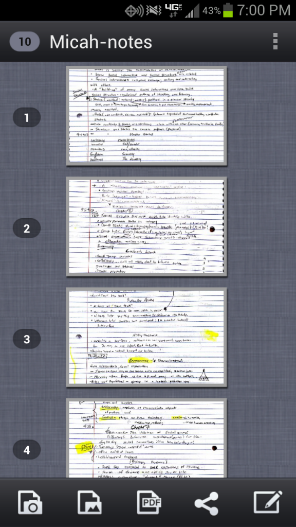 Multi-page document scan using CamScanner
