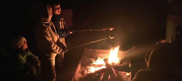 Making s'mores at Lake DeGray