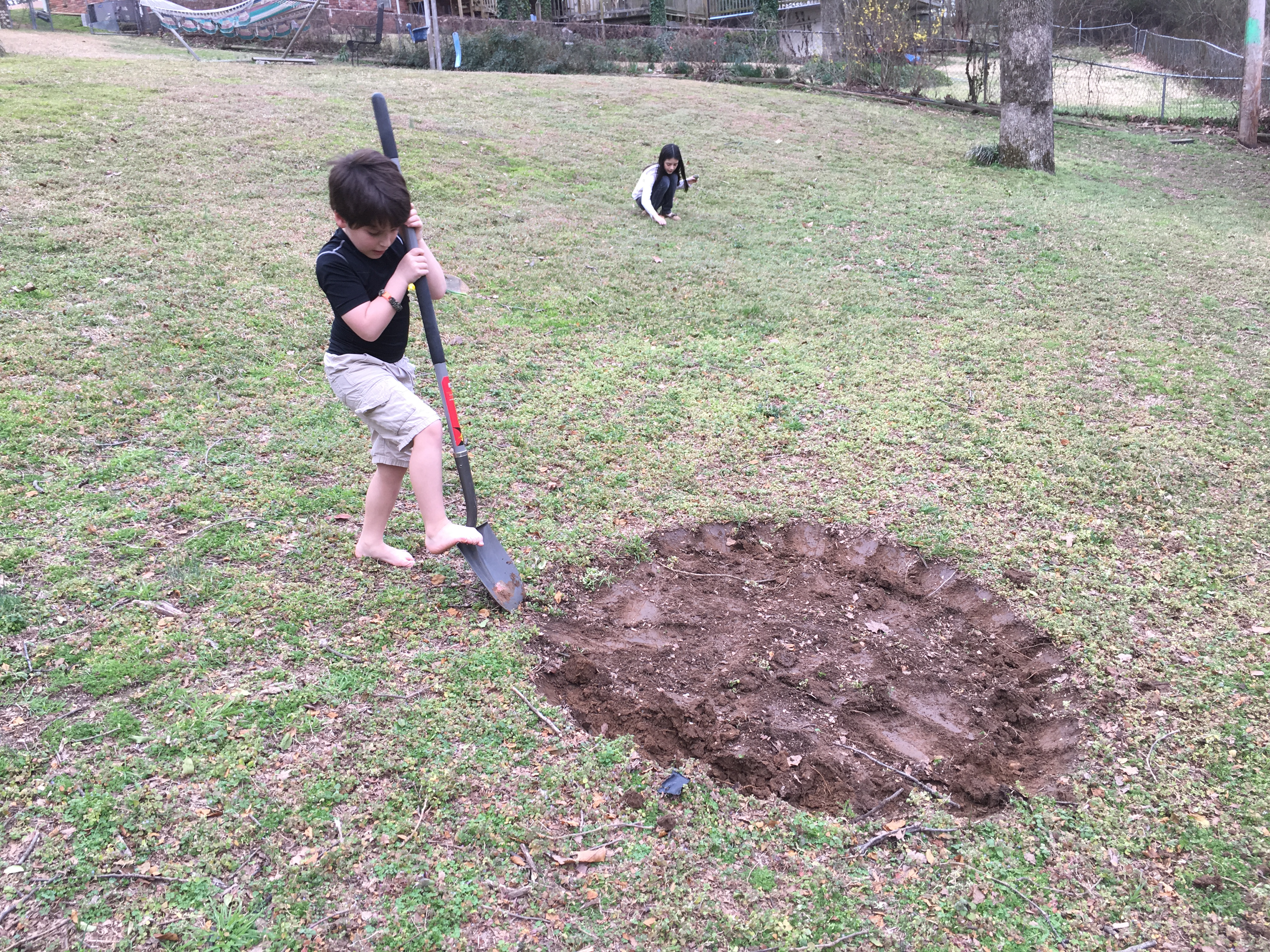 breaking ground for the fire pit